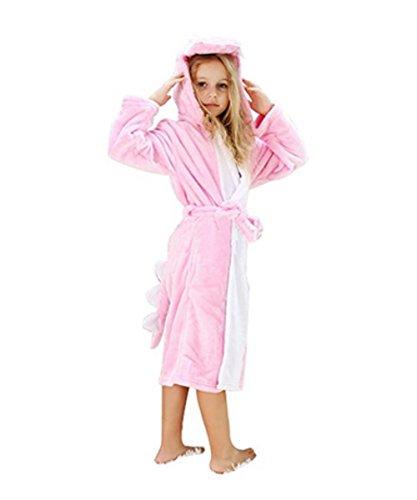 Woneart Kinder Bademantel/Morgenmantel mit Kapuze Robe Nachtwäsche Schlafanzug Cosplay Kostüme Tier Ankleiden (XS, Pink Drachen) (Kind Drachen Kostüme)