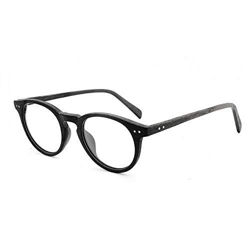 Männer Und Frauen Plain Gläser Handgemachte Platte Holzmaserung Retro Rahmen Myopie Gläser Großen Rahmen Gläser Für Sonnenbrillen und flacher Spiegel ( Color : 03Schwarz , Size : Kostenlos )