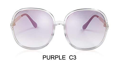 LKVNHP Farbverlauf Übergroßen Damen Sonnenbrille Große Rahmen Kunststoff Transparent Weiß Mode Farbige Unisex Sonnenbrille KlarWTYJ065 lila c3