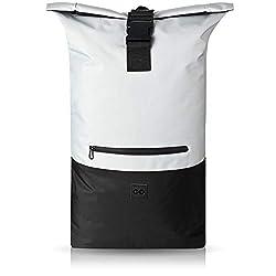 URBAN ZWEIRAD Roll-Top Rucksack 35l - Lifestyle Rucksack für den Alltag - Wasserabweisend & sehr individuell packbar - Damen & Herren (Grau)