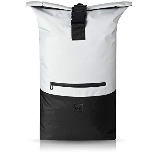 URBAN ZWEIRAD Roll-Top Rucksack 35l - Lifestyle Rucksack für den Alltag - Wasserabweisend & sehr individuell packbar - Damen & Herren (Grau) -