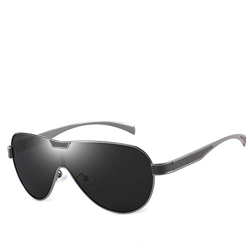 Easy Go Shopping Siamese Polarized Sonnenbrillen für Herren, Klassische Sonnenbrillen. Sonnenbrillen und Flacher Spiegel (Farbe : Silver Frame/Grey)