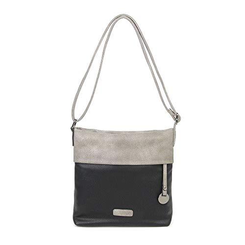 CASAdiNOVA Umhängetasche Damen Schwarz - Handtasche Damen Leder Vegan - Vintage Schultertasche - Hochwertige Tasche - Damen Tasche Schwarz