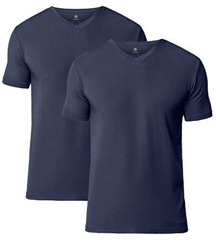 LAPASA 2er Pack Herren T-Shirts - SUPER WEICHES Micromodal - Business Kurzarm Unterhemd mit V-Ausschnitt Für Männer M08 - Shirts Kurzarm Herren Seide