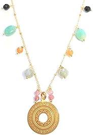 Collier Mandala, argent 925 doré à l'or fin et pierres nature