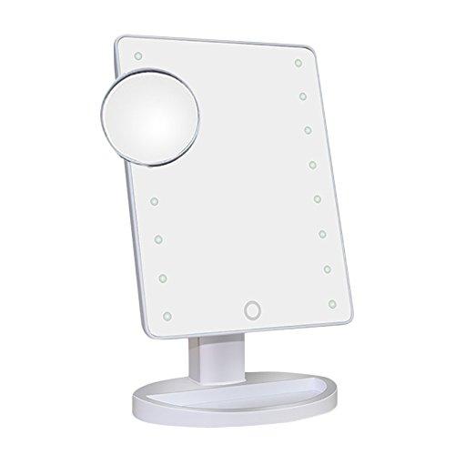 Beleuchteter Kosmetikspiegel, Touch Screen 16 LED beleuchtet 180 Grad-drehenden Kosmetikspiegel mit entfernbaren 10x Vergrößerungs-Spiegeln (16 Lichter-Weiß)