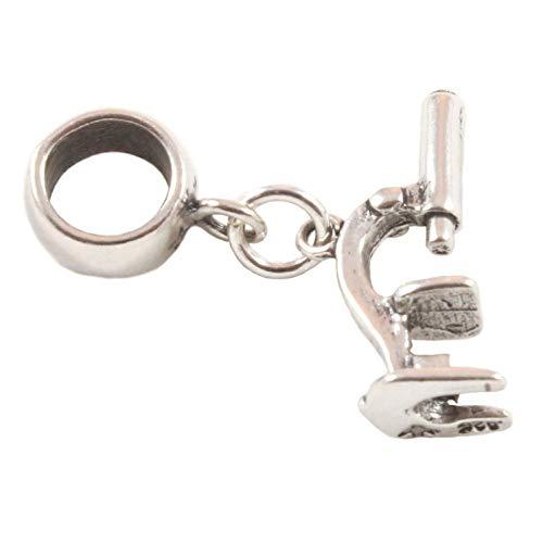 Plata De Ley Microscopio Collar Perla/Charm Apto Para