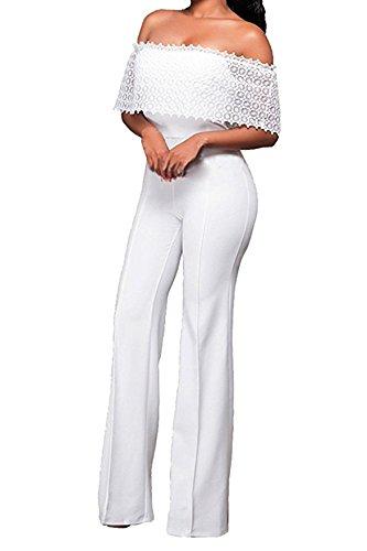 Combinaison Femme IHRKleid® Elegant Dentelle Jumpsuit Pantalons longs Ensemble Parti Soirée Blanc