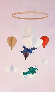 Mobile per bambini, Mobile per palloncino/aereo in cartone riciclato, Cerchio in legno, Decorazione per aeropl