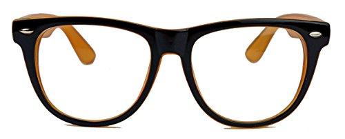 sized Fashion Brille Nerdbrille Streberbrille Klarglas 153 (Schwarz / Amber) (80er Jahre Mens Style)