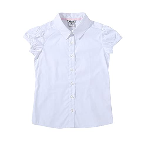 Bienzoe Big Girl's School Uniforms Short Puff Sleeve Blouse White Size S
