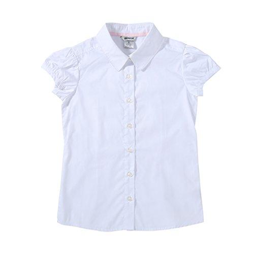 Bienzoe Niña Uniformes Escolares Oxford Manga Corta Blusa Blanco S