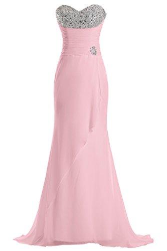 Sunvary lunghe della linea Sweetheart Chiffon vestito da damigella d'onore per feste Rosa