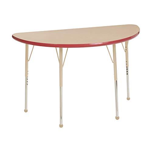 """ECR4Kids elr-14825-mrdsd-sb Mesa t-mould 61x 121,9cm Hälfte rund Aktivität Schule Tisch, Standard Beine W/BALL gleitet, höhenverstellbar 48,3cm-30"""""""