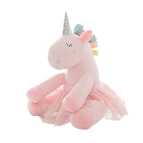 1 stück Einhorn Puppe Kissen Gefüllt Baumwolle Plüschtier Tier Spielzeug Geschenk Waschbar Sofa Dekokissen für Kinder (Rosa)
