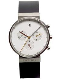 Jacob Jensen 601 - Reloj cronógrafo de cuarzo unisex con correa de caucho, color negro