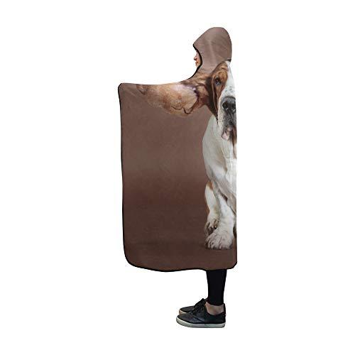 JOCHUAN Mit Kapuze Decke Basset Hound Flying Ears Stehen Studio Decke 60 x 50 Zoll Comfotable Mit Kapuze werfen Wrap Basset-hound-fleece