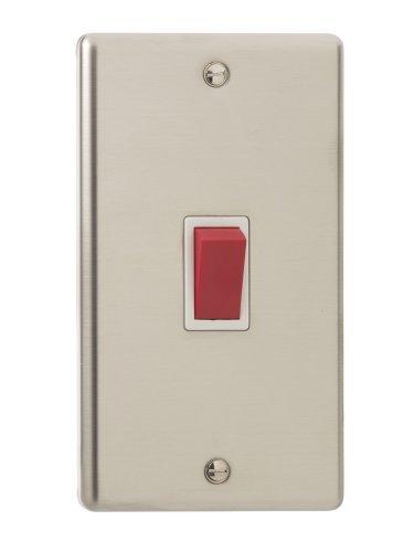 Interruptores de luz de cromo y acero, 45A Cooker Single D.P. Double...