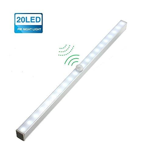 KINGSO 20-LED DIY Stick-on Wireless Pir Motion Sensing-Licht Schrankbeleuchtung Ideal für Badezimmer Kabinett Dachböden Garagen Treppe Bar Nachtlicht Wandleuchte Weiß