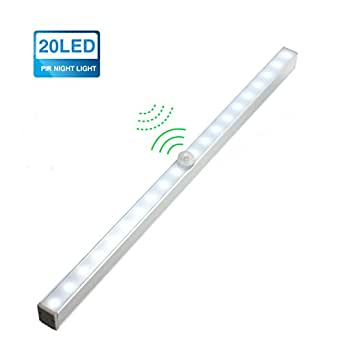 kingso 20 led diy stick on wireless pir motion sensing licht schrankbeleuchtung ideal f r. Black Bedroom Furniture Sets. Home Design Ideas