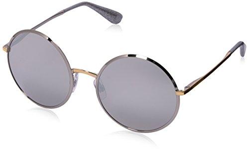 Dolce & Gabbana Damen 0DG2155 13076G 56 Sonnenbrille, Silver/Gold/Lightgreymirrorsilver