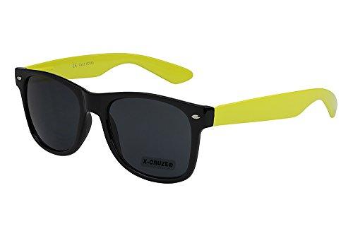 X-CRUZE® 8-086 X0 Nerd Sonnenbrille Retro Vintage Design Style Stil Unisex Herren Damen Männer Frauen Brille Nerdbrille - schwarz/gelb
