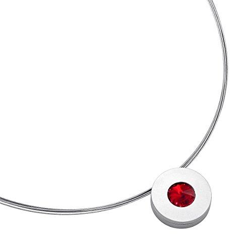Heideman Halskette Damen Lumen aus Edelstahl Silber farbend matt Kette für Frauen mit Swarovski Stein Kristall siam rot im Fantasie Edelsteinschliff 10mm