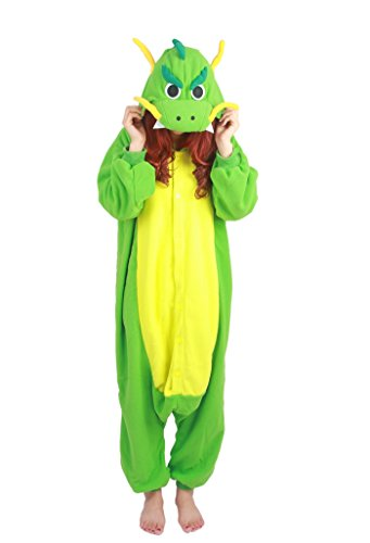 Fandecie Tier Kostüm Tierkostüm Tier Schlafanzug Pyjamas Jumpsuit Kigurumi Drache Damen Herren Erwachsene Cosplay Tier Fasching Karneval Halloween (Grün Drache, M:Höhe 160-169cm)