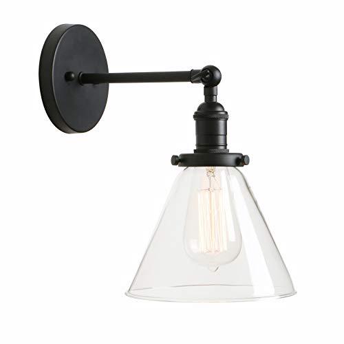 PERMO single-leuchter mit trichter ausgestelltes glas klarglas shade 1light wandleuchte wandleuchte weinlese schwarz - Base-klar, Mit Halogen-lampe