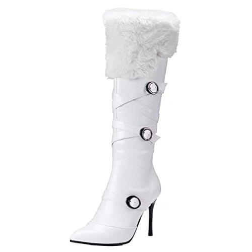 AIYOUMEI Damen Spitz Zehen Kniehohe Stiefel mit Schnalle und Fell Stiletto High Heels Langschaft Stiefel Schuhe (Kniehohe Schaft-stiefel)