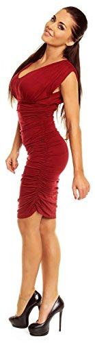 Zeta Ville – Robe d'été – Col V - Sans manches – Près du corps - Femme –525z Crimson
