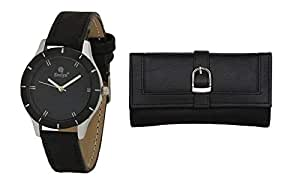 Evelyn Women's Analog Black Dial Wrist Watch With Black Wallet -Lbblk-272-019