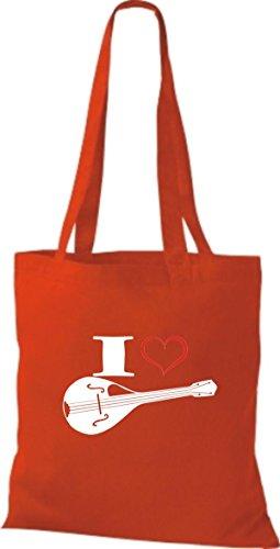 Shirtstown Pochette en tissu Musique I Love Mandoline rot
