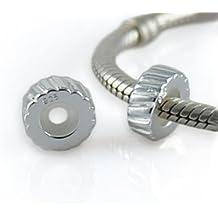 Andante-Stones - original, cuenta de plata de ley 925 sólida, elemento separador, cierre a presión, elemento bola para pulseras modulares European Beads + saco de organza