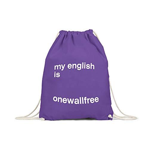 licaso Turnbeutel Bedruckt My Englisch is Onewallfree Print in Lila Gym Bag Kordel Waffel Sweets Yummy Druck Ökologisch & Nachhaltig 100% Baumwolle - Lila Waffel