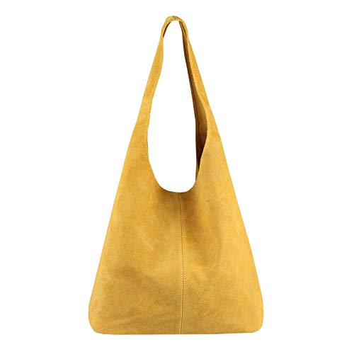 OBC Made IN Italy Damen Leder Tasche Handtasche Wildleder Shopper Schultertasche Hobo-Bag Henkeltasche Beuteltasche Velourleder (Gelb (Wildleder)) - Nappa-leder Große Tote