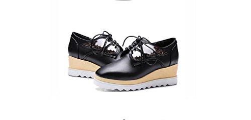 Beauqueen Platform Schuhe Pumps Frauen Frühling und Sommer Flat Slope Ferse Dick Sequins Wings Weiblich Gold Schwarz Casual Schuhe Special Größe Europa Größe 34-43 Black