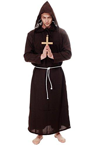 DRESS ME UP - Mönchskutte Priester Mönch Klosterbruder Braun Kostüm Herren Herrenkostüm L088 Gr. 48 / (Kostüm Priester Bilder)