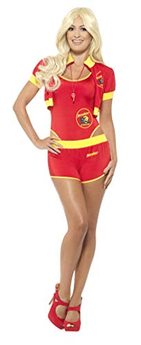 Smiffys Damen Deluxe Baywatch Rettungsschwimmer Kostüm, Badeanzug, kurze Hose, Jacke und Pfeife, Größe: 36-38