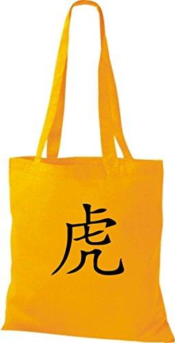 ShirtInStyle Stoffbeutel Chinesische Schriftzeichen Tiger Baumwolltasche Beutel, diverse Farbe yellow
