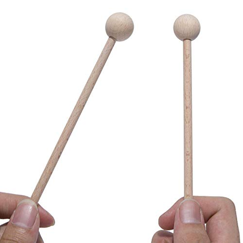 TOOGOO 2 Pair Wood Mallets Percussion Sticks for Energy Chime, Xylophone, Wood Block, Glockenspiel and Bells