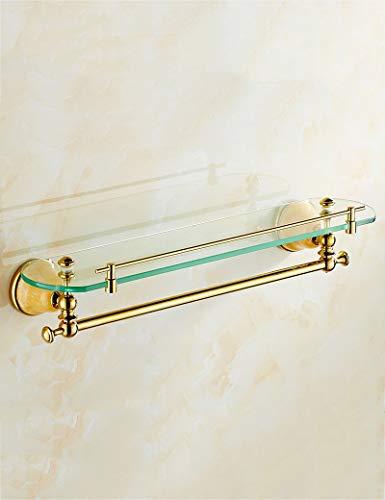 DNKNS Badezimmerregal Spiegel vor dem Make-upständer Gold Jade Pendelleuchte Badezimmer Wandmontierter Marmor Einzelschichtglasablage (Color : 2)