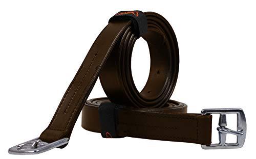 QHP Steigbügelriemen Bügelriemen Basic Leder schwarz oder braun ARBO-INOX® (120cm, Braun)