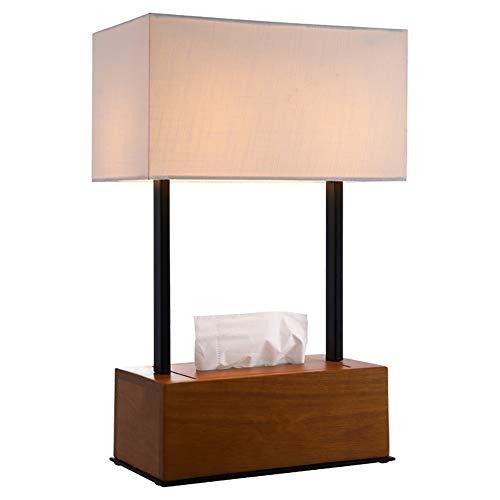 Schreibtischlampe E27 Licht Japanisch-Stil Moderne Einfache Kreative Stoffschirm Schwarz Nussbaum Holz Tissue Box Rechteck Tischlampe Mit Knopfschalter Für Wohnzimmer Schlafzimmer Nachttischlampe -