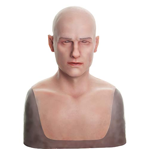 (Ajusen Mann Maske Silikon Realistisch Voller Kopf Maskerade 4. Generation für Crossdresser Cosplayer Halloween Kostüm-Party)