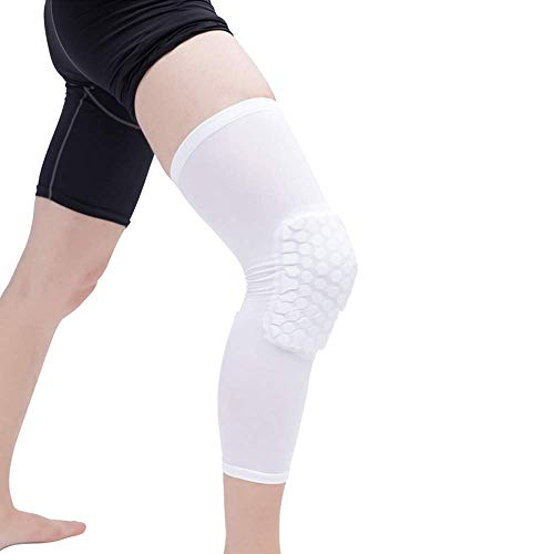 Euaoqi 1Pair Knee Support Brace Pads Honeycomb Knee Pads, Extended  Compression Leg Knee Sleeve with Protective Hexpad and Slip Bar (White)