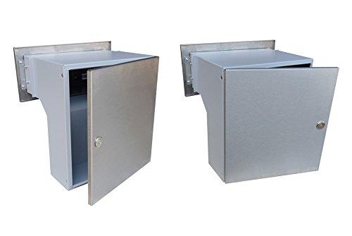 F-04 Edelstahl Mauerdurchwurf Briefkastenanlagemit zwei Klingeln und 2 Namensschildern (variable Tiefe) – LETTERBOX24.de - 4