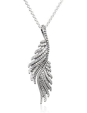 Pandora Damen-Kette mit Anhänger Schimmernde Phoenixfeder 925 Silber Zirkonia transparent 70.0 cm - 390373CZ-70