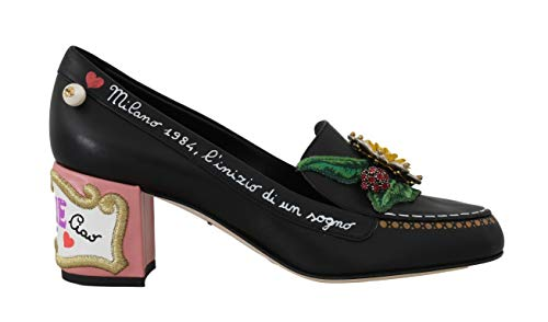 Dolce & Gabbana - Damen Schuhe - Pumps Black Pink Leather Crystal Moccasin Shoes- EU 39