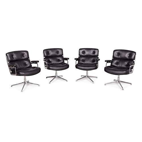 Vitra ES 108 Lobby Designer Leder Premium Sessel Garnitur Schwarz by Charles Eames Echtleder 1970ger Stuhl #8106 -